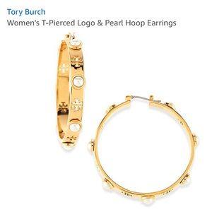 Tory Burch pierced T pearl hoops